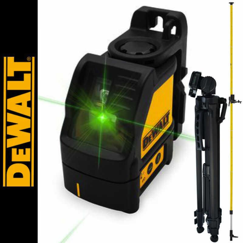 Laser liniowy krzyżowy, zielony DW088CG DEWALT + Tyczka rozporowa 3,3m LP-33 + Statyw aluminiowy 1,4m