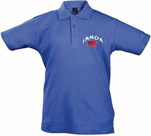 Supportershop Unisex dziecięca koszulka polo Rugby Enfant Samoa Rugby dla dzieci. niebieski niebieski FR : 2XL (Taille Fabricant : 12 Jahre)