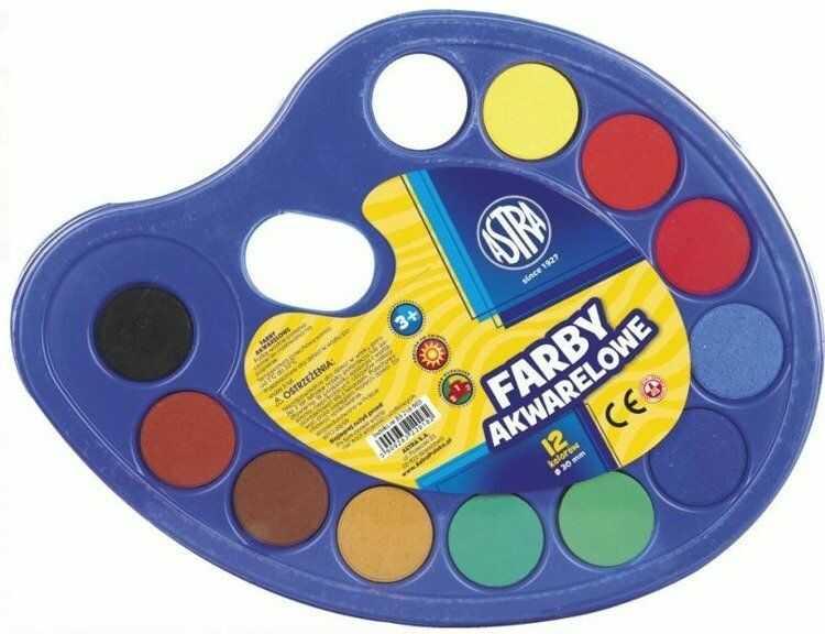 Farby akwarelowe paletka fi 30mm 12 kolorów ASTRA - ASTRA papiernicze