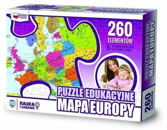 Puzzle Edukacyjne 260 mapa Europy - Zachem