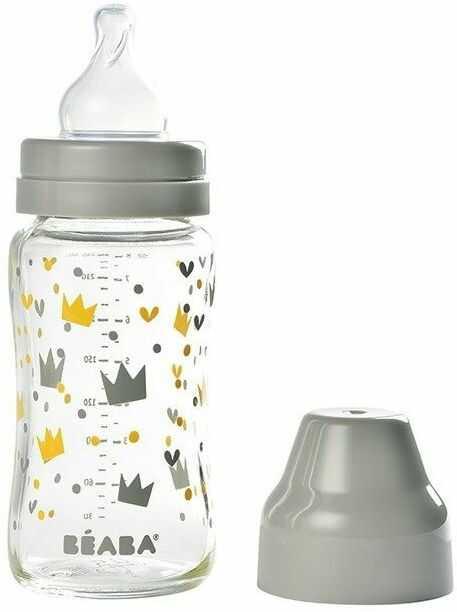 Butelka szklana szerokootworowa 240 ml Yellow / Grey Crown 911653-Beaba