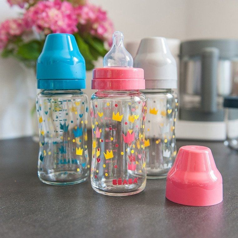 Butelka szklana szerokootworowa 240 ml Yellow / Pink Crown 911654-Beaba