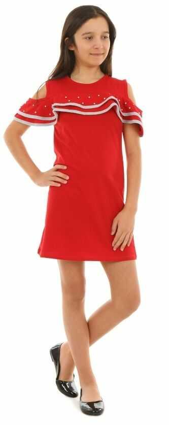 Sportowa sukienka z falbanką 128-164 KRP224 czerwona