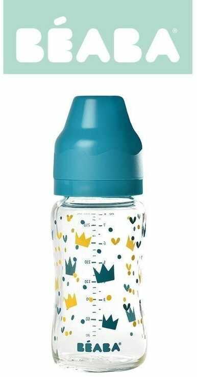 Butelka szklana szerokootworowa 240 ml Yellow / Blue Crown 911655-Beaba
