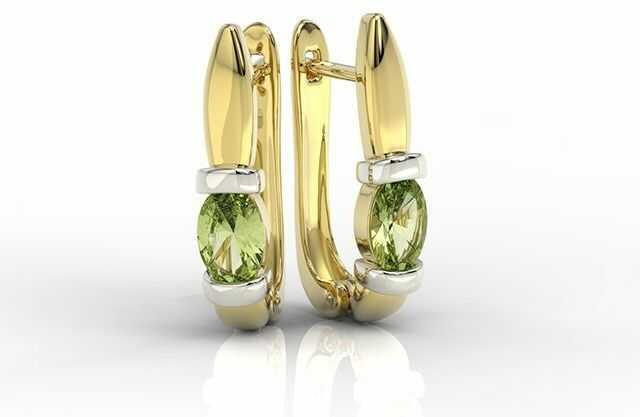 Kolczyki z żółtego i białego złota z oliwinami apk-67zb