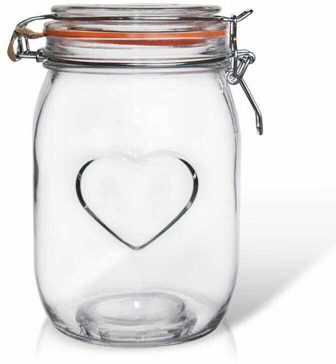 Słoik pojemnik szklany patentowy z klipsem BELA 1 l serce