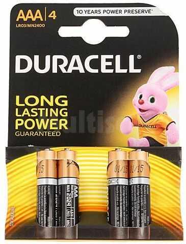 Bateria alkaliczna 1,5V DURACELL AAA, R3 Basic 4szt.