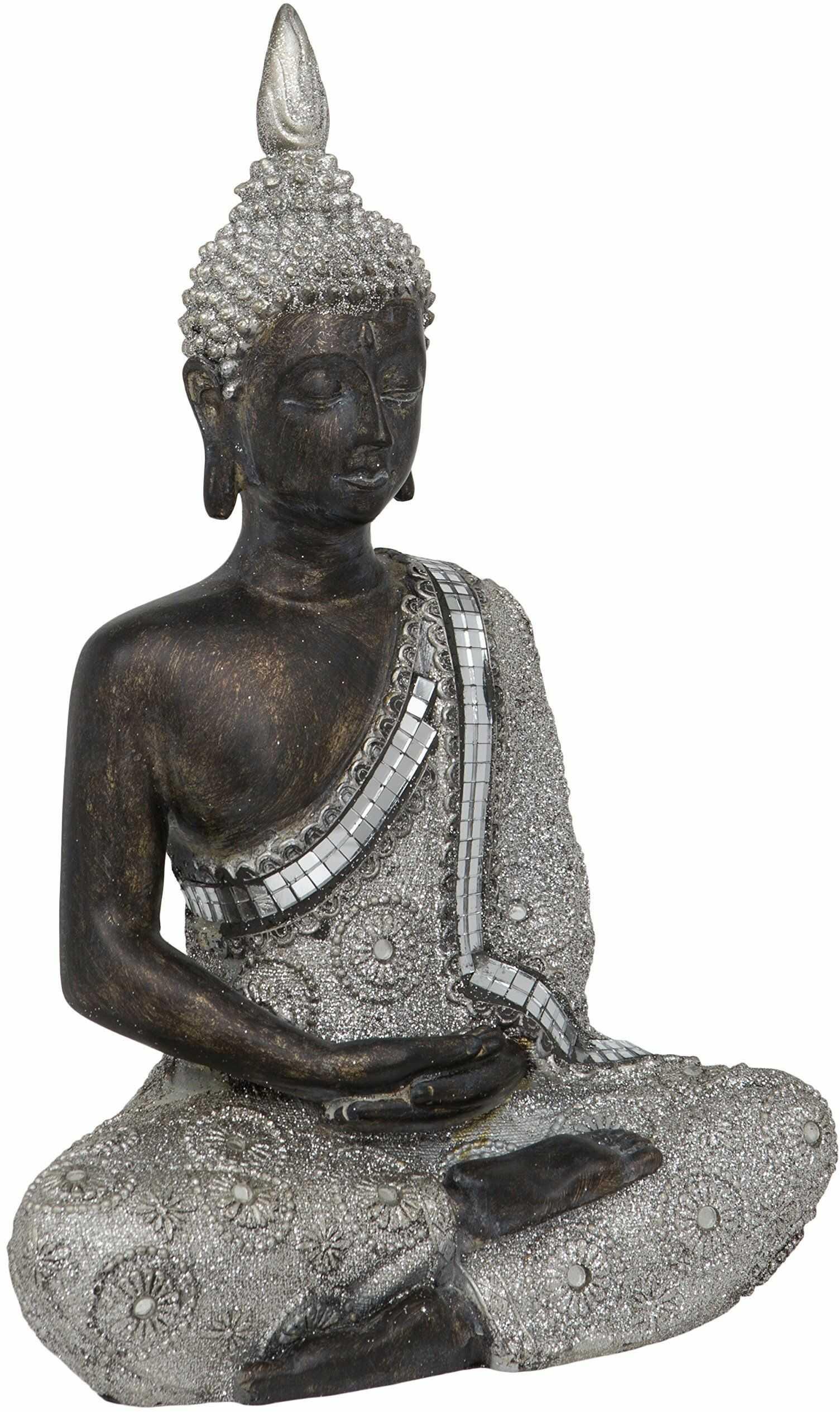 Maturi Tajski, siedzący medytujący Budda, metal, wielokolorowy, 8,89 x 19,05 x 27,94 cm