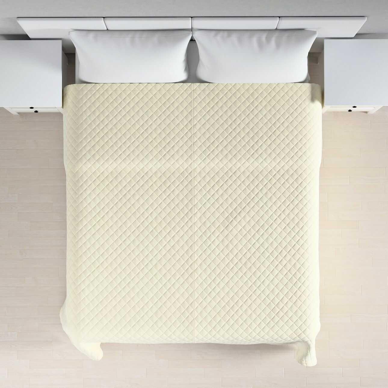 Narzuta pikowana w romby, śmietankowa biel, szer.210  dł.170 cm, Velvet