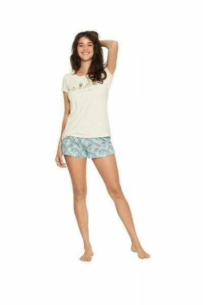 Henderson ladies favor 38060-10x żółto-turkusowa piżama damska