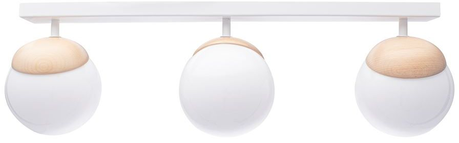 Milagro SFERA WOOD MLP5427 plafon lampa sufitowa biały klosze kule szkło drewno 3xE14 65cm
