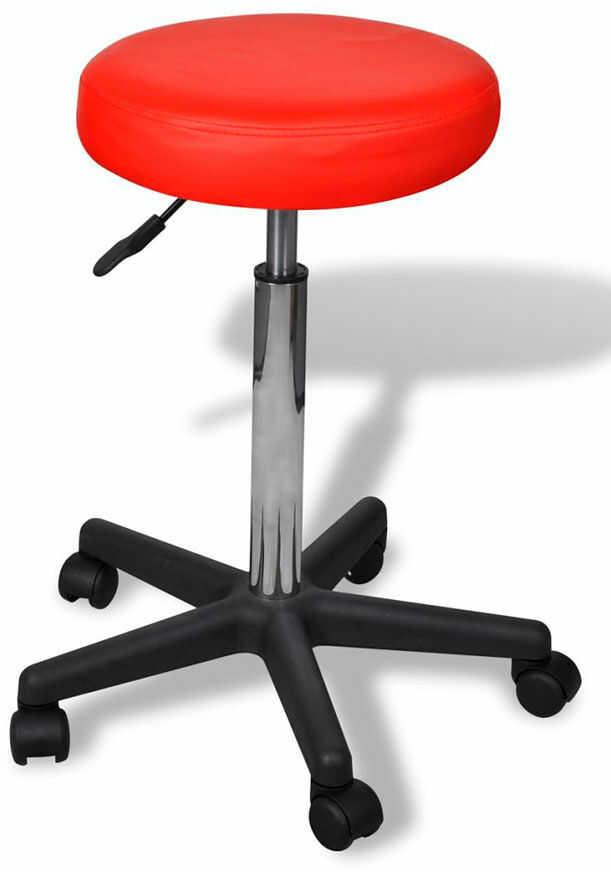 Czerwony okrągły tapicerowany taboret mobilny - Albin