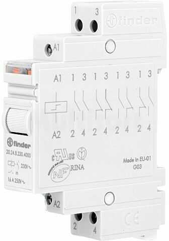 Przekaźnik instalacyjny FINDER bistabilny DPST-NO 230VAC Montaż DIN