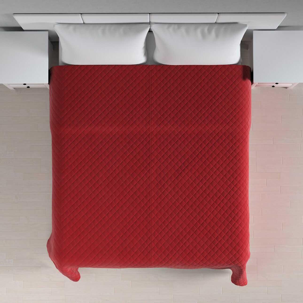 Narzuta pikowana w romby, intensywna czerwień, szer.210  dł.170 cm, Velvet