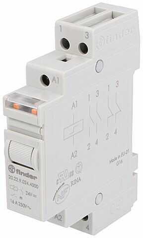 Przekaźnik instalacyjny FINDER bistabilny DPST-NO Ucewki :24VDC