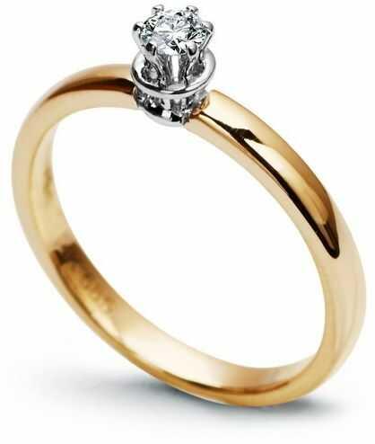 Staviori pierścionek zaręczynowy z diamentem, masa 0,10 czystość si1. żółte złoto 0,585.
