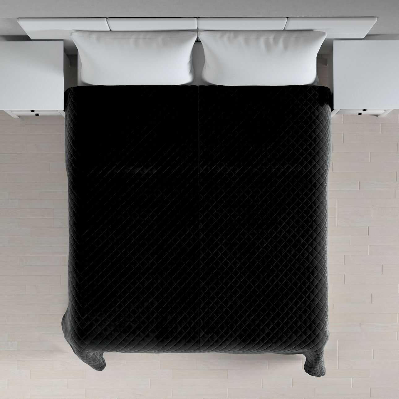 Narzuta pikowana w romby, głęboka czerń, szer.210  dł.170 cm, Velvet