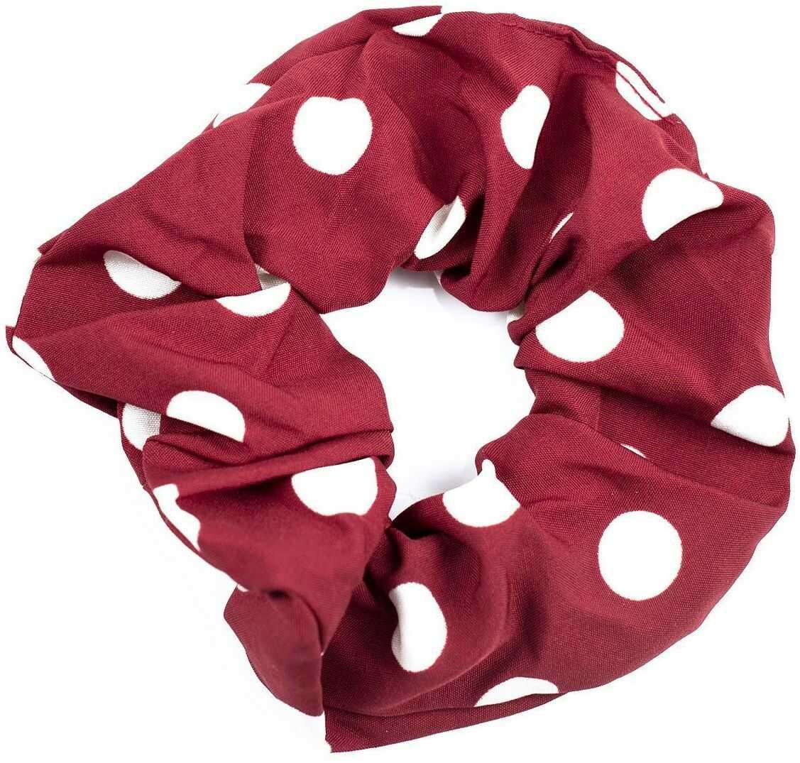 Gumka do włosów frotka scrunchies kropki czerwona