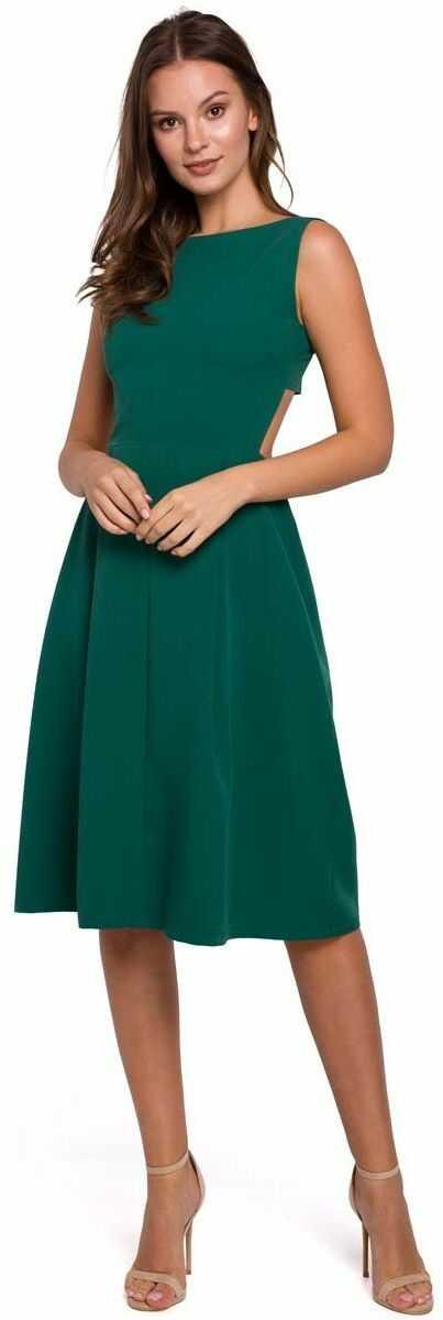zielona wieczorowa sukienka z odkrytymi plecami