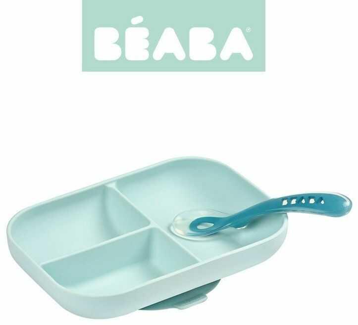 Komplet naczyń z silikonu trójdzielny talerz z przyssawką + łyżeczka Blue 913455-Beaba