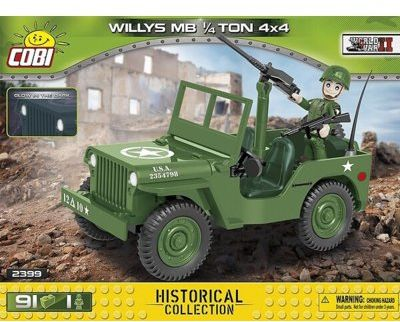 Klocki COBI Historical Collection: World War II - WWII Jeep Willys MB 1/4 Ton 4x4 2399