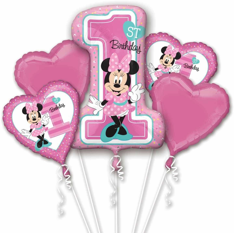 amscan 3437901 Disney Mickey i przyjaciele różowy bukiet balonów foliowych na 1 urodziny z motywem myszy Minie-5 szt.