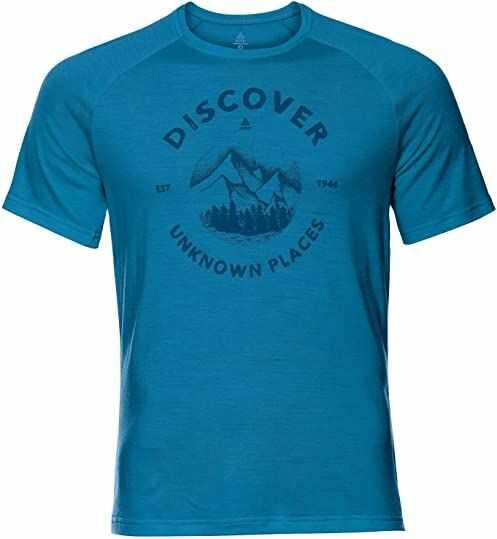 Odlo Męski T-shirt Crew Neck Concord T-shirt męski niebieski Blue Aster - Discover Print Ss20 S