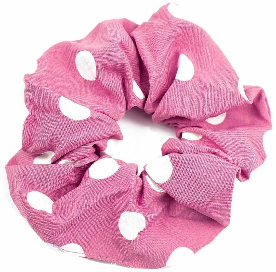 Gumka do włosów frotka scrunchies kropki różowa
