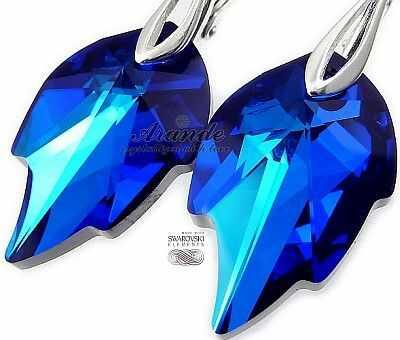 Jedyne! Kryształy Piękne Kolczyki Blue Leaf Srebro