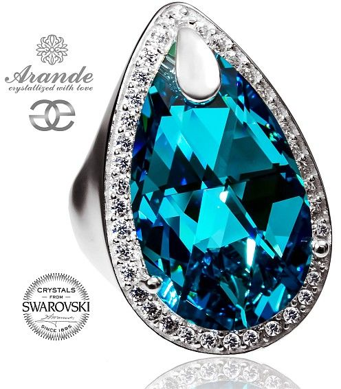 Kryształy SPECIAL PIERŚCIONEK TURQUOISE ENCANTE SREBRO