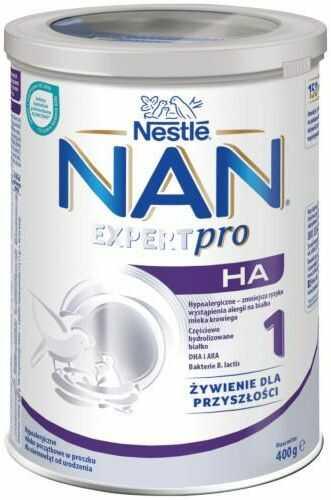 NESTLE NAN OPTIPRO HA 1 Hypoalergiczne mleko początkowe w proszku dla niemowląt od urodzenia 400 g