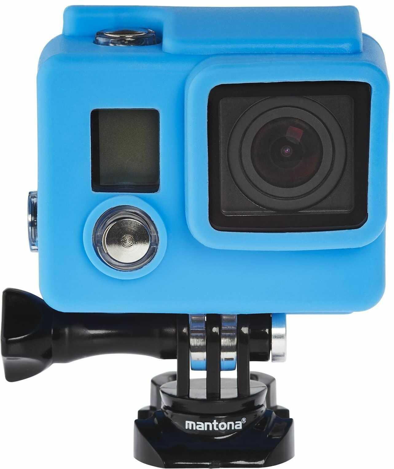 Mantona zestaw silikonowych rękawów ochronnych do GoPro Hero 4/3 + - czarny/niebieski