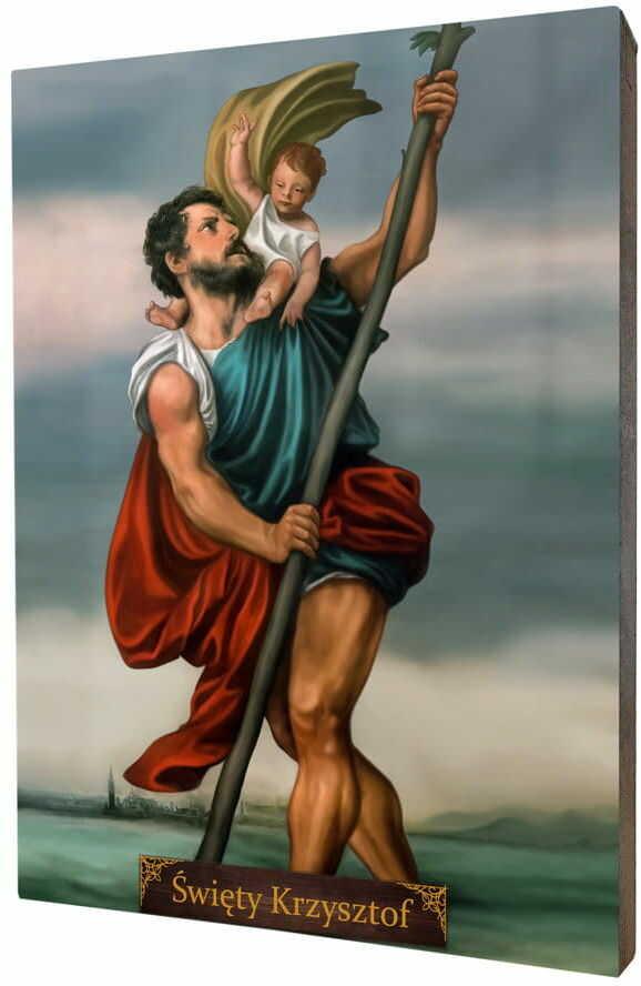 Święty Krzysztof, obraz na desce lipowej