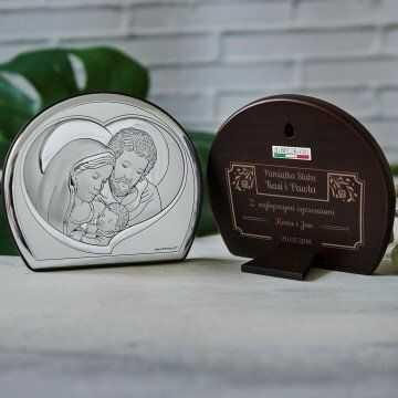Ramka - Św. Rodzina - Półkole - Srebrny Obrazek z Grawerem