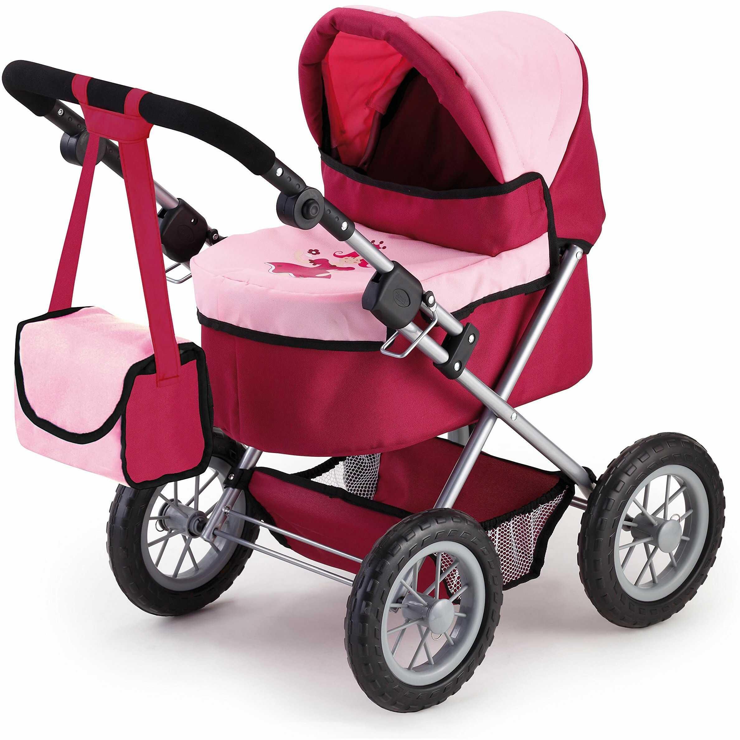 Bayer Design 13014AA wózek dla lalek modny wózek, składany, uchwyt z regulacją wysokości, z torbą na ramię, czerwony i różowy, księżniczka