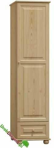 Szafa sosnowa 1 drzwiowa z szufladą i półkami (nr kat. 70)