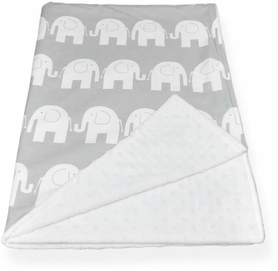 kocyk minky biały słonie 100x75cm