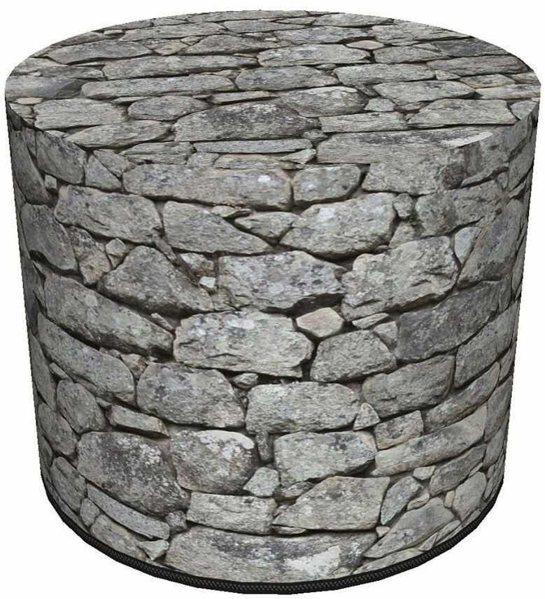 Okrągła pufa z motywem kamienia 6 wzorów - Adelos 3X