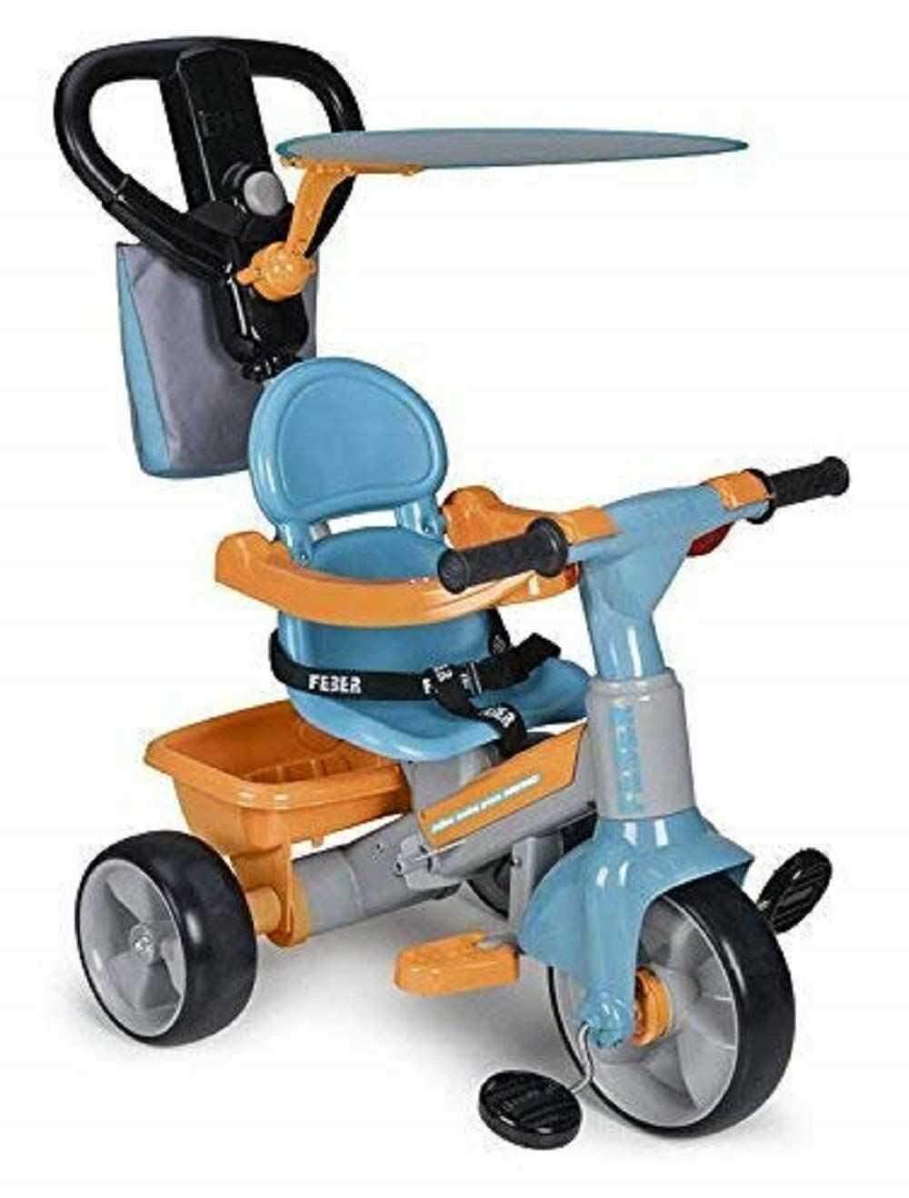 FEBER Famosa 80009614 - Ewolucyjna trójkołowa Baby plus muzyka dla dziewczynek w wieku od 9 miesięcy do 3 lat, niebieska