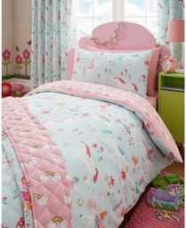 Kidz Club magiczne jednorożce dla dzieci pojedyncze łóżko poszewka na kołdrę i poszewka na poduszkę, niebieski, poliester - bawełna