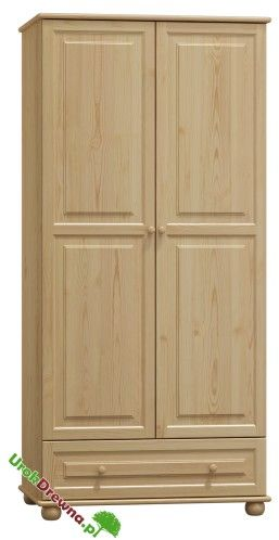 Szafa sosnowa 2 drzwiowa z szufladą i podziałem 90 (nr kat. 65)