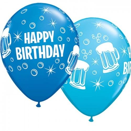"""Balon 11"""" z nadrukiem Happy Birthday i kufle, mix kolorów"""