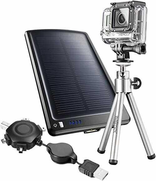Mantona GoPro Mobile Solar Power Set wraz z mini statywem, ładowarką solarną, kablem USB i adapterem statywu do GoPro