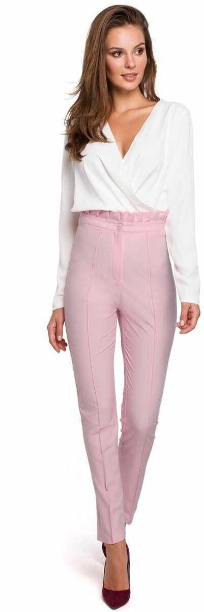 Liliowe eleganckie spodnie w kant z falbanką w pasie