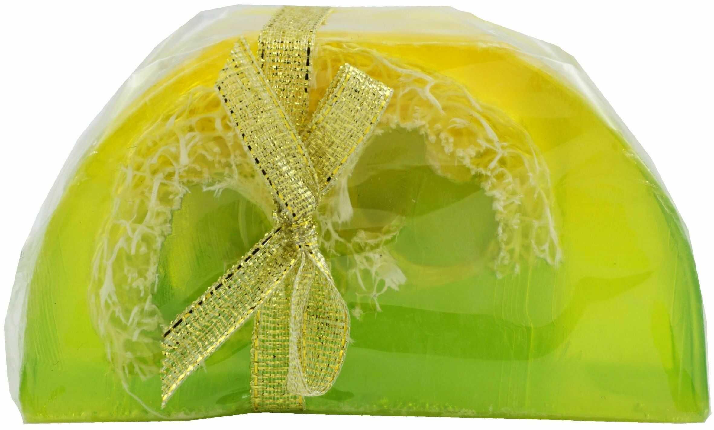 Mydło Glicerynowe z gąbką Loofah - Cytryna & Limonka - 100g - Lavea