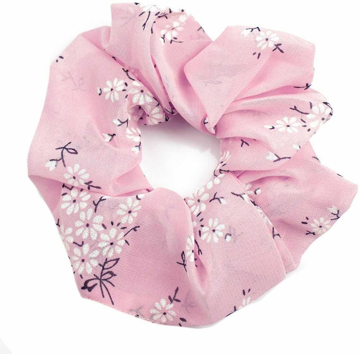 Gumka do włosów frotka scrunchies różowa kwiaty