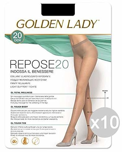 Golden Lady Zestaw 10 Repose 20 czarnych 4 rajstopy dla kobiet i mężczyzn, wielokolorowe, 10 sztuk