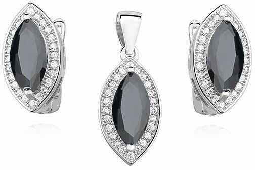 Elegancki rodowany srebrny komplet czarne cyrkonie srebro 925 Z0711K_B
