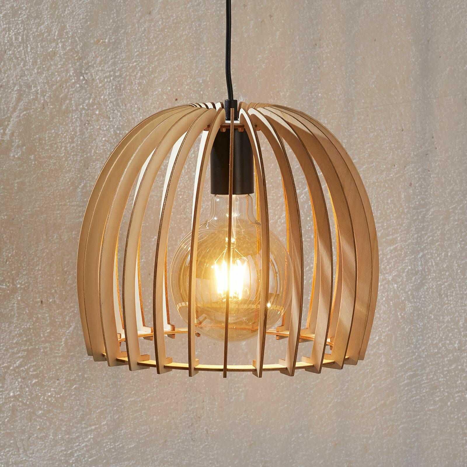 Drewniana lampa wisząca Bela, Ø 30 cm