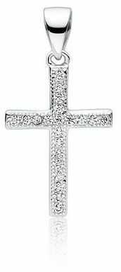 Rodowany srebrny krzyżyk krzyż cyrkonia cyrkonie srebro 925 Z1626C